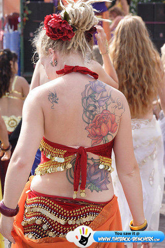 girly tattoo on back